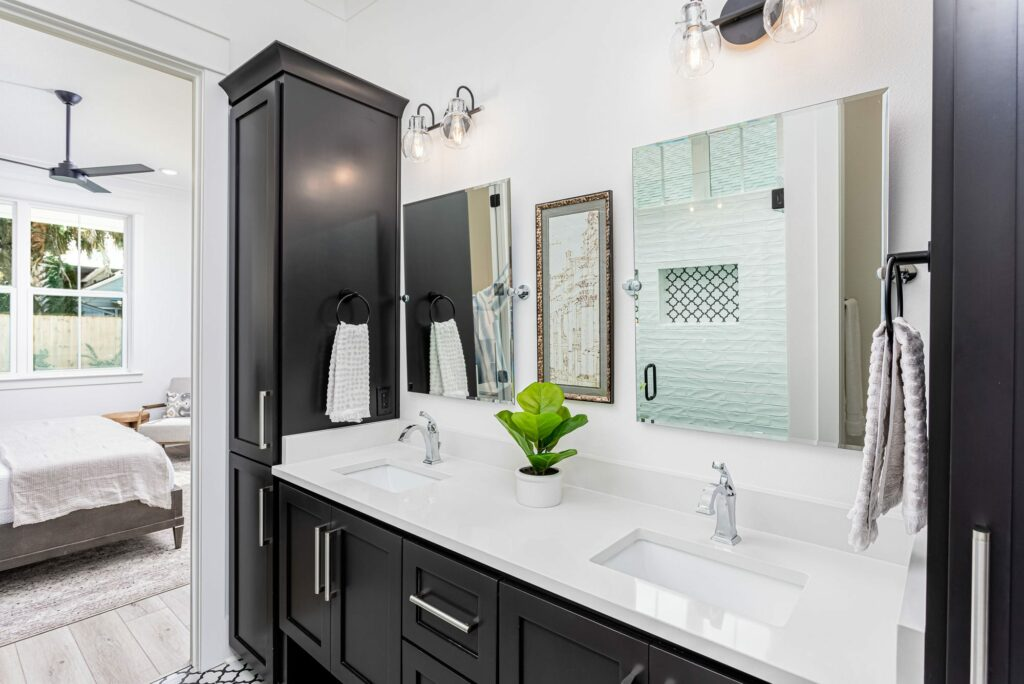 Interior design of bathroom, modern sink, black & white, unique functionality.